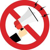 usage of megaphone prohibited in this area vector illustration
