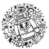 Usage noir et blanc de Noël de griffonnage : chaussette pour les cadeaux, le chapeau, les mitaines et le chandail avec le renne image stock