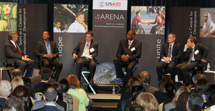 USAID - Sport als Katalysator für internationalen Entwickler Lizenzfreies Stockfoto