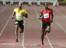 Usain Bolt. ( JAM ) at the men 100  meters in the Zurich golden league meeting.Zurich.2009-08-28 Stock Images