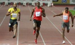 Usain Bolt. ( JAM ) winner ( 981 ) of the men 100  meters in the Zurich golden league meeting.Zurich.2009-08-28 Royalty Free Stock Photo