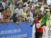 Usain Bolt. ( JAM ) winner ( 981 ) of the men 100  meters in the Zurich golden league meeting.Zurich.2009-08-28 Royalty Free Stock Photos