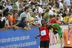 Usain Bolt. ( JAM ) winner ( 981 ) of the men 100  meters in the Zurich golden league meeting.Zurich.2009-08-28 Stock Image