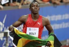 Usain Bolt. ( JAM ) winner ( 981 ) of the men 100  meters in the Zurich golden league meeting.Zurich.2009-08-28 Stock Photos