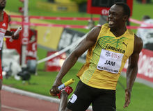 Usain Bolt. ( JAM ) at the men 100  meters in the Zurich golden league meeting.Zurich.2009-08-28 Royalty Free Stock Images