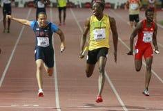 Usain Bolt. ( JAM ) at the men 100  meters in the Zurich golden league meeting.Zurich.2009-08-28 Stock Photo