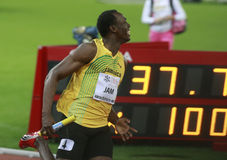 Usain Bolt. ( JAM ) at the men 100  meters in the Zurich golden league meeting.Zurich.2009-08-28 Stock Image