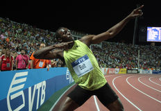 Usain Bolt. THESSALONIKI, GREECE - SEPTEMBER 12: Usain Bolt finishes first at 100m men for the IAAF World Athletics Finals main event at Kaftatzoglio Stadium on