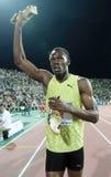 Usain Bolt. THESSALONIKI, GREECE - SEPTEMBER 12: Usain Bolt finishes first at 100m men for the IAAF World Athletics Finals main event at Kaftatzoglio Stadium on Stock Photo
