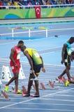 Usain Bolt alla linea di inizio di 100m ai Olympics Rio2016 Fotografie Stock