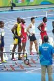 Usain Bolt bei 100m Anfangslinie an den Olympics Rio2016 Stockbilder