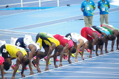 Usain Bolt at 100m start line at Rio2016 Olympics. Usain Bolt, a Jamaican sprinter at 100m starting blocks during Round 1, heat 7 at Olympic Stadium in Rio de Stock Photography
