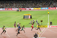 Usain Bolt powering to the finish line to win 200 metres title at the IAAF World Championships Beijing 2015 royalty free stock photography