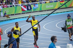 Usain Bolt at Rio2016 Olympics. Usain Bolt, a Jamaican sprinter enters the Olympic Stadium in Rio de Janeiro during Rio2016 Summer Olympics. Picture taken Aug 13 Stock Photography