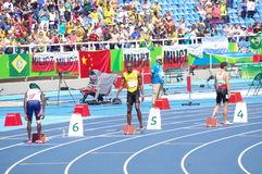 Usain Bolt at Rio2016 Olympics. Usain Bolt at start line of 200m at Rio2016 XXXI Summer Olympics. Brazil. Picture taken Aug 16, 2016 Stock Photo