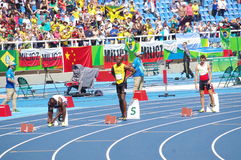 Usain Bolt at Rio2016 Olympics. Usain Bolt at start line of 200m at Rio2016 XXXI Summer Olympics. Brazil. Picture taken Aug 16, 2016 Royalty Free Stock Photos