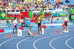 Usain Bolt at Rio2016 Olympics. Usain Bolt at start line of 200m at Rio2016 XXXI Summer Olympics. Brazil. Picture taken Aug 23, 2016 Stock Photo