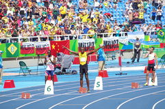 Usain Bolt at Rio2016 Olympics. Usain Bolt at start line of 200m at Rio2016 XXXI Summer Olympics. Brazil. Picture taken Aug 16, 2016 Stock Image