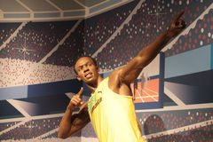 Usain Bolt. Wax statue at Madame Tussauds in London royalty free stock photos