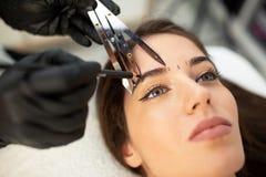 Usando ferramentas dos cosméticos para tomar a medida correta das sobrancelhas futuras foto de stock