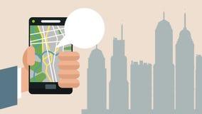 Usando smartphone con la animación de GPS app HD