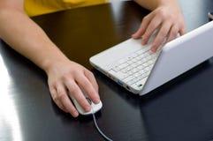 Usando um portátil Foto de Stock