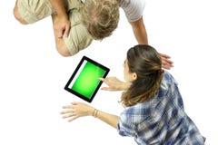 Usando una tableta de Digitaces Imagen de archivo libre de regalías
