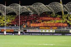 USAP contra Biarritz - rugbi francés de la tapa 14 Fotos de archivo