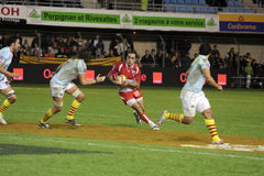 USAP contre Biarritz - rugby français du principal 14 Photo stock