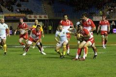 USAP versus Biarritz - Frans Hoogste Rugby 14 Stock Foto