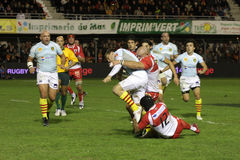 USAP versus Biarritz - Frans Hoogste Rugby 14 Stock Fotografie