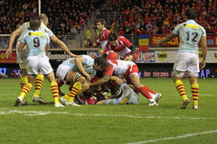 USAP versus Biarritz - Frans Hoogste Rugby 14 Stock Afbeelding