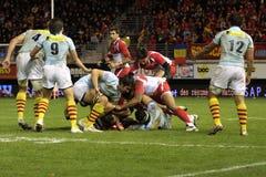USAP versus Biarritz - Frans Hoogste Rugby 14 Royalty-vrije Stock Afbeelding