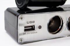 USB和香烟汽车的打火机插口 免版税库存照片