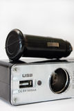 USB和香烟汽车的打火机插口 免版税图库摄影