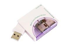USB在白色隔绝的卡片阅读机 库存照片