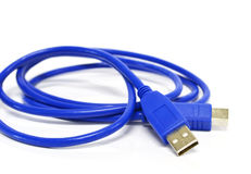 Usb在背景隔绝的电缆接头 库存照片