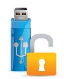 Usb开锁并且闪动驱动作为钥匙 库存照片
