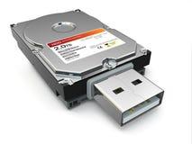 Usb文件备份外在硬盘。 库存图片