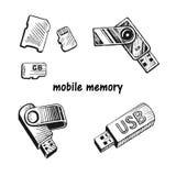USB棍子和存储卡集合 库存照片