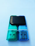 USB棍子,卡片阅读机 免版税库存图片