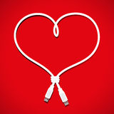 Usb缆绳心脏 库存照片