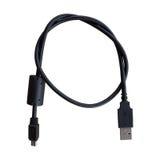 黑USB缆绳有白色背景 免版税库存图片