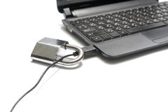 Usb锁膝上型计算机 免版税库存照片