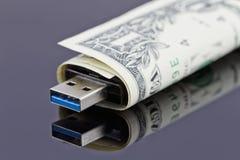 USB闪光和美元 免版税库存照片