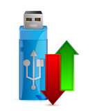 USB闪光驱动器和箭头 免版税图库摄影
