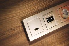 USB, HDMI,电源插座 免版税库存照片