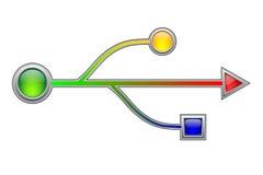 usb électronique de signe de surface adjacente de matériel Photo libre de droits