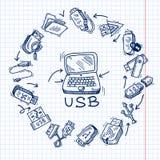Usb και υπολογιστής Στοκ Εικόνες