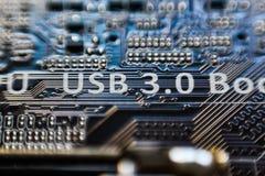 0 usb 3 0 надписей на цепи микро- обломока материнской платы Стоковое фото RF